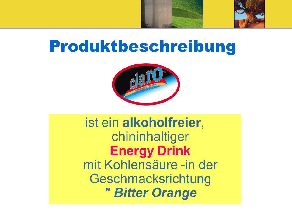 Produktbeschreibung ist ein alkoholfreier, chininhaltiger Energy Drink mit Kohlensäure -in der Geschmacksrichtung Bitter Orange