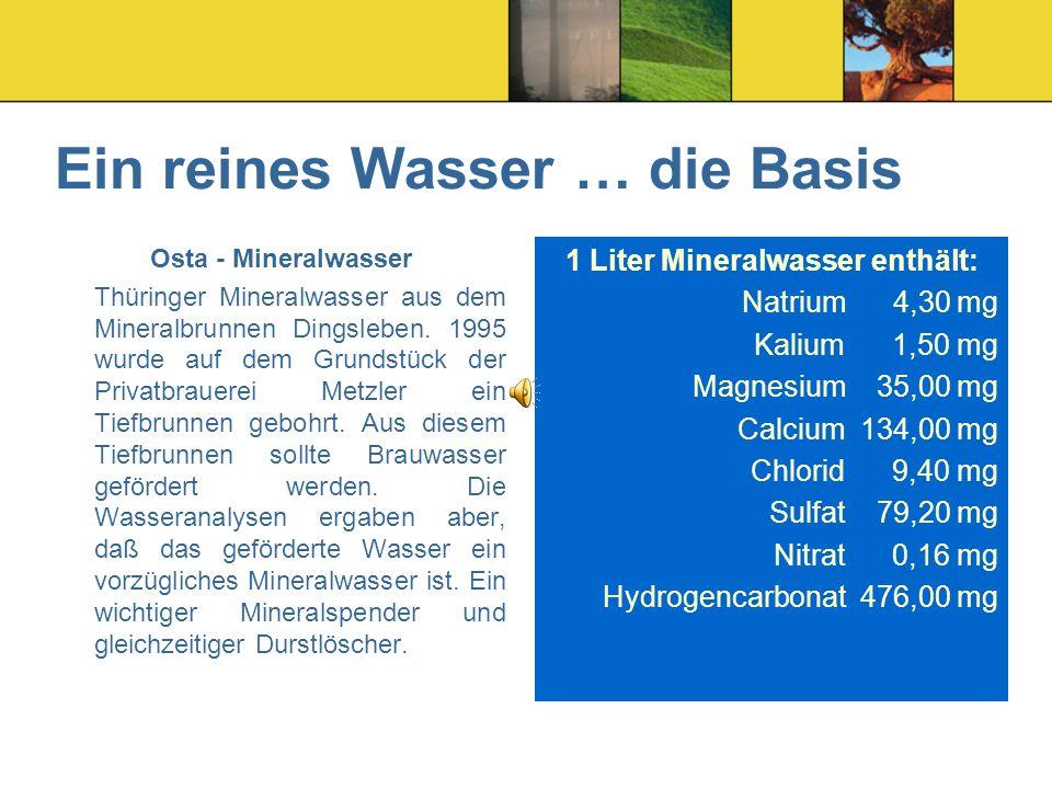 Ein reines Wasser … die Basis Osta - Mineralwasser Thüringer Mineralwasser aus dem Mineralbrunnen Dingsleben.