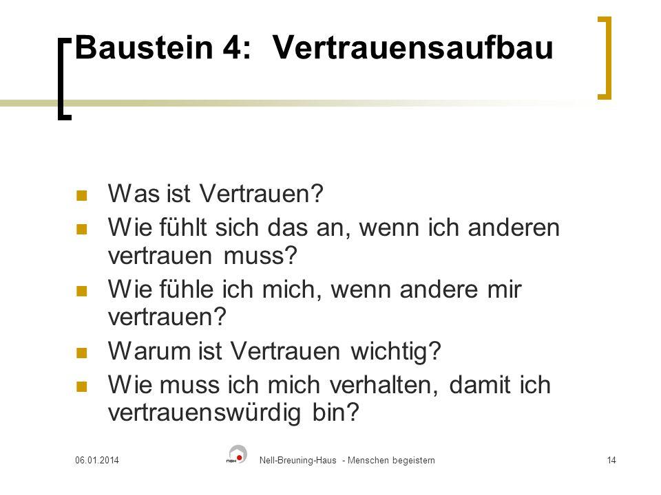 06.01.2014Nell-Breuning-Haus - Menschen begeistern14 Baustein 4:Vertrauensaufbau Was ist Vertrauen.