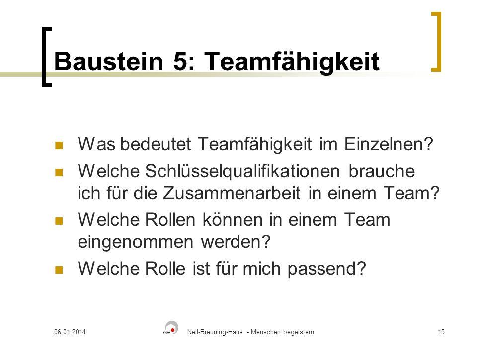 06.01.2014Nell-Breuning-Haus - Menschen begeistern15 Baustein 5: Teamfähigkeit Was bedeutet Teamfähigkeit im Einzelnen? Welche Schlüsselqualifikatione