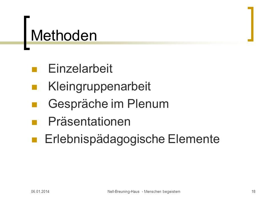 Methoden Einzelarbeit Kleingruppenarbeit Gespräche im Plenum Präsentationen Erlebnispädagogische Elemente 06.01.2014Nell-Breuning-Haus - Menschen begeistern18