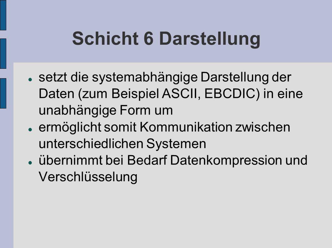 Schicht 6 Darstellung setzt die systemabhängige Darstellung der Daten (zum Beispiel ASCII, EBCDIC) in eine unabhängige Form um ermöglicht somit Kommun