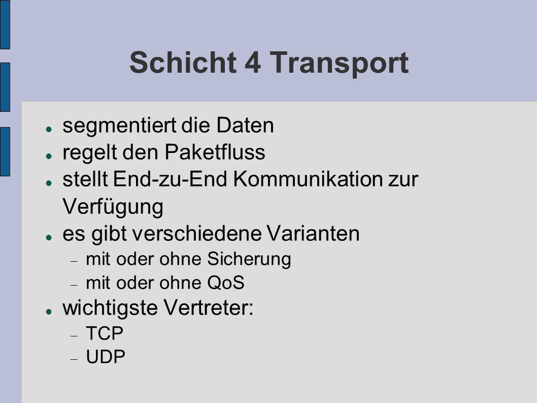 Schicht 4 Transport segmentiert die Daten regelt den Paketfluss stellt End-zu-End Kommunikation zur Verfügung es gibt verschiedene Varianten mit oder