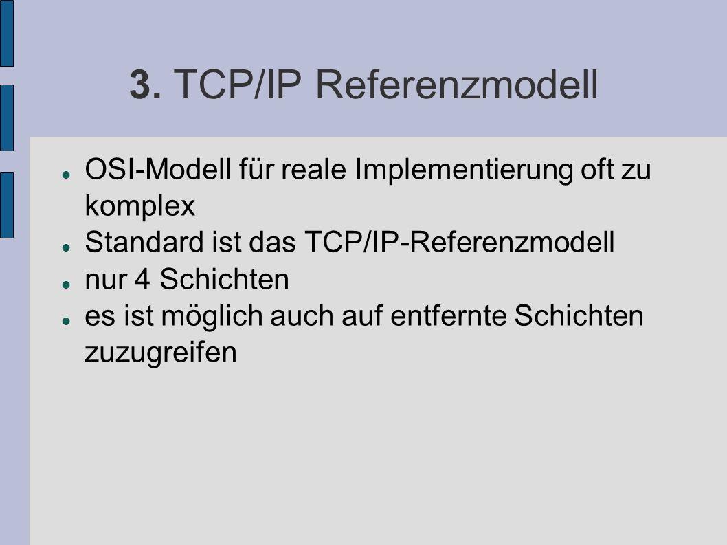 3. TCP/IP Referenzmodell OSI-Modell für reale Implementierung oft zu komplex Standard ist das TCP/IP-Referenzmodell nur 4 Schichten es ist möglich auc