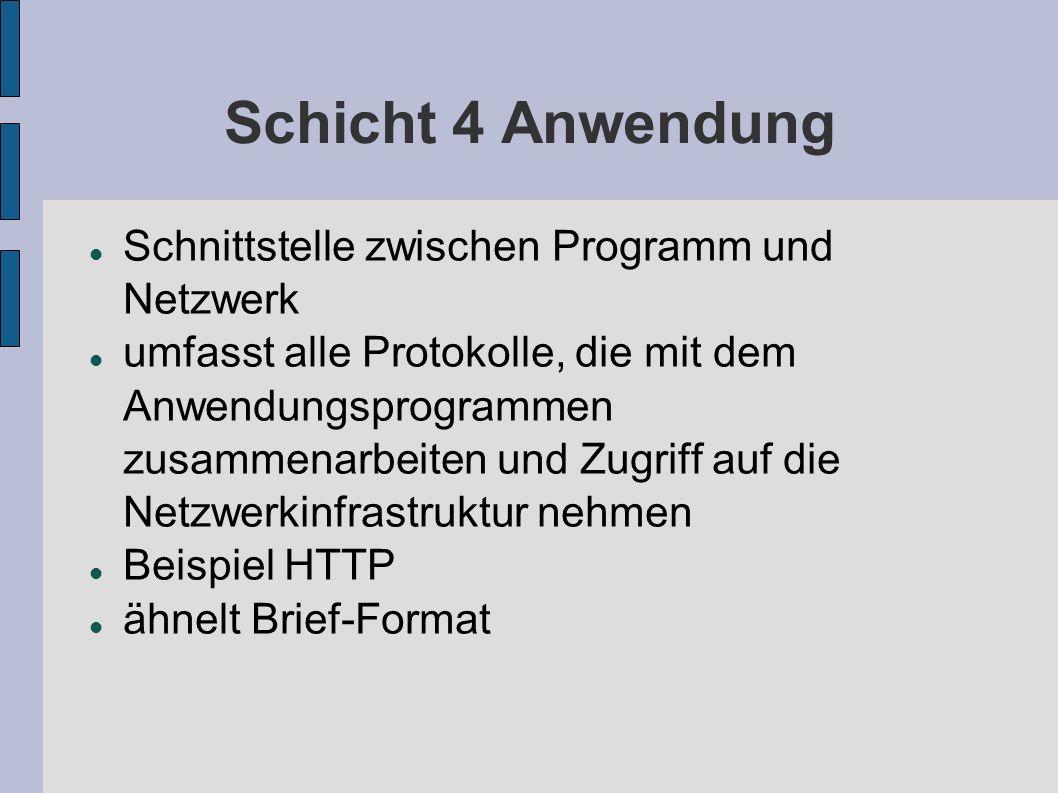 Schicht 4 Anwendung Schnittstelle zwischen Programm und Netzwerk umfasst alle Protokolle, die mit dem Anwendungsprogrammen zusammenarbeiten und Zugrif