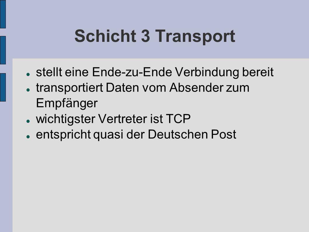 Schicht 3 Transport stellt eine Ende-zu-Ende Verbindung bereit transportiert Daten vom Absender zum Empfänger wichtigster Vertreter ist TCP entspricht