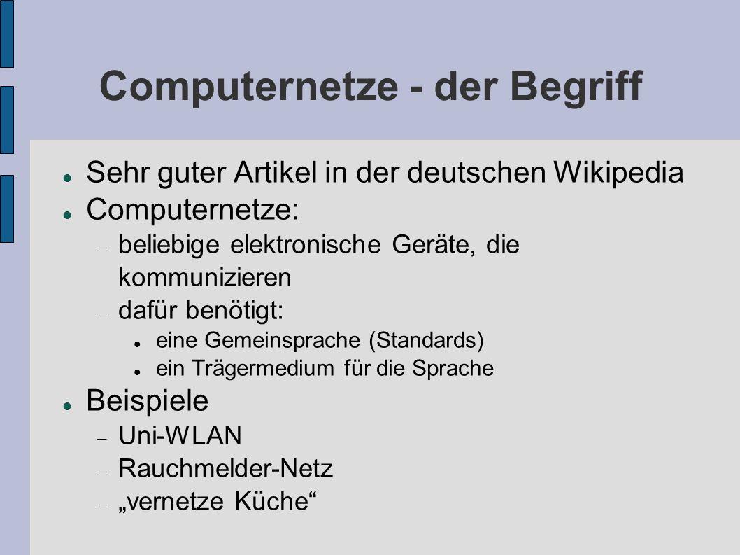 Computernetze - der Begriff Sehr guter Artikel in der deutschen Wikipedia Computernetze: beliebige elektronische Geräte, die kommunizieren dafür benöt