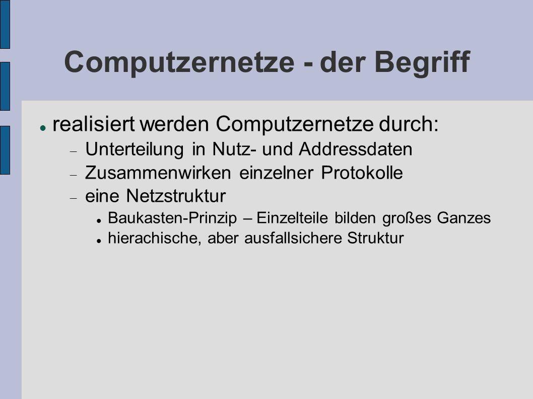 Computzernetze - der Begriff realisiert werden Computzernetze durch: Unterteilung in Nutz- und Addressdaten Zusammenwirken einzelner Protokolle eine N