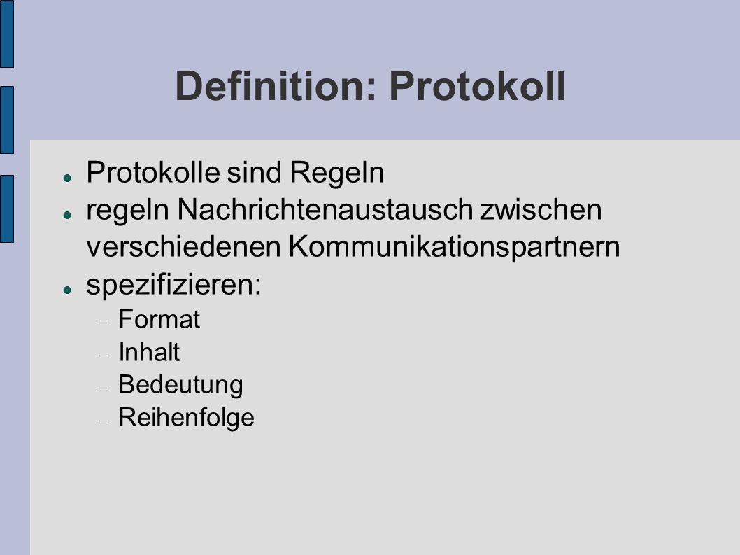 Definition: Protokoll Protokolle sind Regeln regeln Nachrichtenaustausch zwischen verschiedenen Kommunikationspartnern spezifizieren: Format Inhalt Be