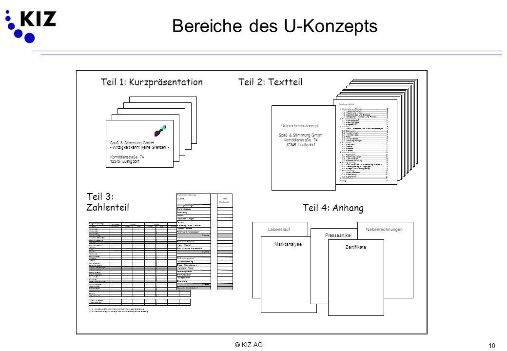 10 KIZ AG Bereiche des U-Konzepts Teil 1: Kurzpräsentation Spaß & Stimmung GmbH -Witzigkeit kennt keine Grenzen - Komödienstraße 74 12345Lustigdorf Te