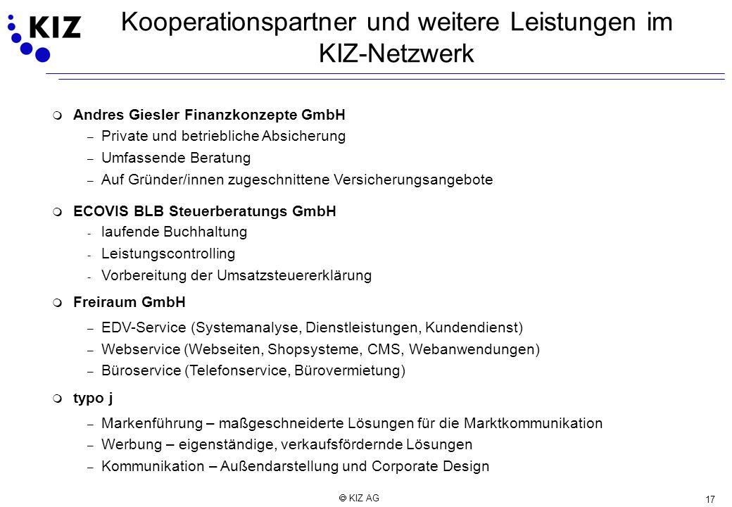 17 KIZ AG Kooperationspartner und weitere Leistungen im KIZ-Netzwerk m Andres Giesler Finanzkonzepte GmbH – Private und betriebliche Absicherung – Umf
