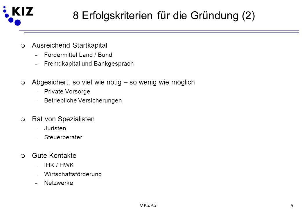 9 KIZ AG 8 Erfolgskriterien für die Gründung (2) m Ausreichend Startkapital – Fördermittel Land / Bund – Fremdkapital und Bankgespräch m Abgesichert: