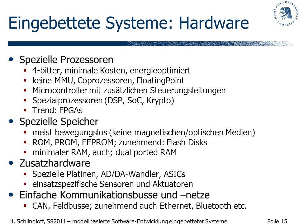 Folie 15 H. Schlingloff, SS2011 – modellbasierte Software-Entwicklung eingebetteter Systeme Eingebettete Systeme: Hardware Spezielle Prozessoren 4-bit