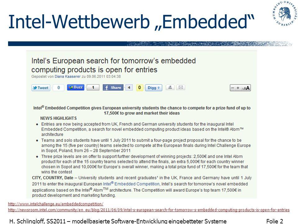 Folie 2 H. Schlingloff, SS2011 – modellbasierte Software-Entwicklung eingebetteter Systeme Intel-Wettbewerb Embedded http://www.intelchallenge.eu/embe