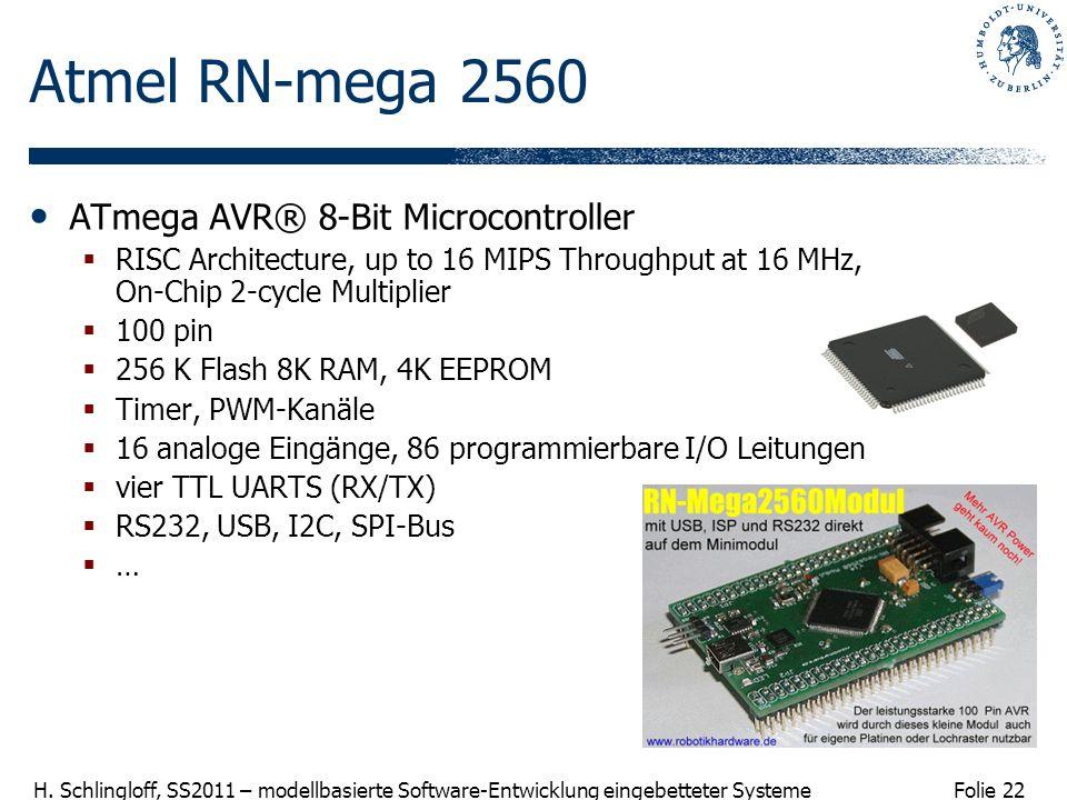 Folie 22 H. Schlingloff, SS2011 – modellbasierte Software-Entwicklung eingebetteter Systeme Atmel RN-mega 2560 ATmega AVR® 8-Bit Microcontroller RISC