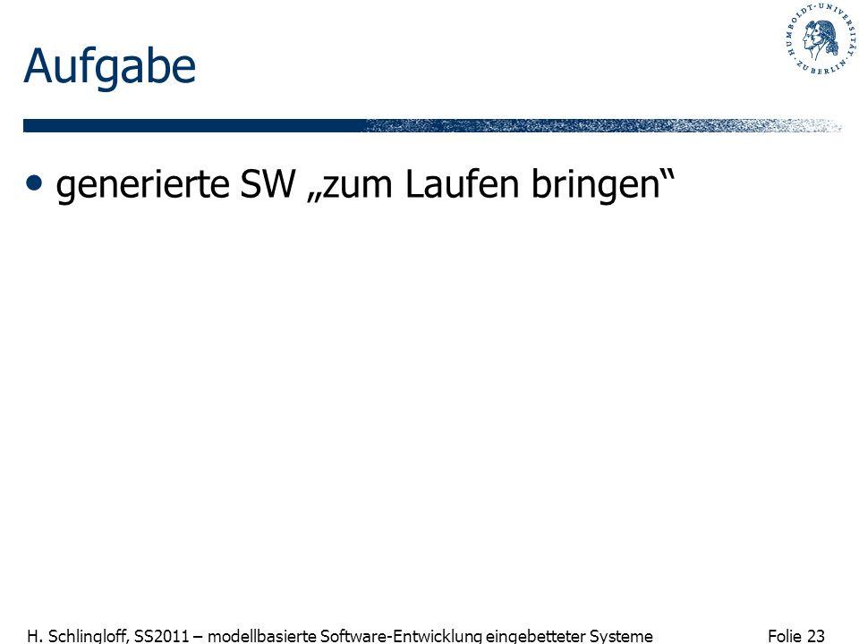Folie 23 H. Schlingloff, SS2011 – modellbasierte Software-Entwicklung eingebetteter Systeme Aufgabe generierte SW zum Laufen bringen