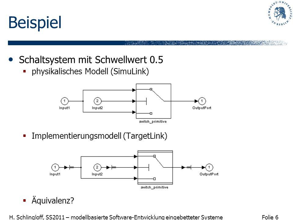Folie 6 H. Schlingloff, SS2011 – modellbasierte Software-Entwicklung eingebetteter Systeme Beispiel Schaltsystem mit Schwellwert 0.5 physikalisches Mo