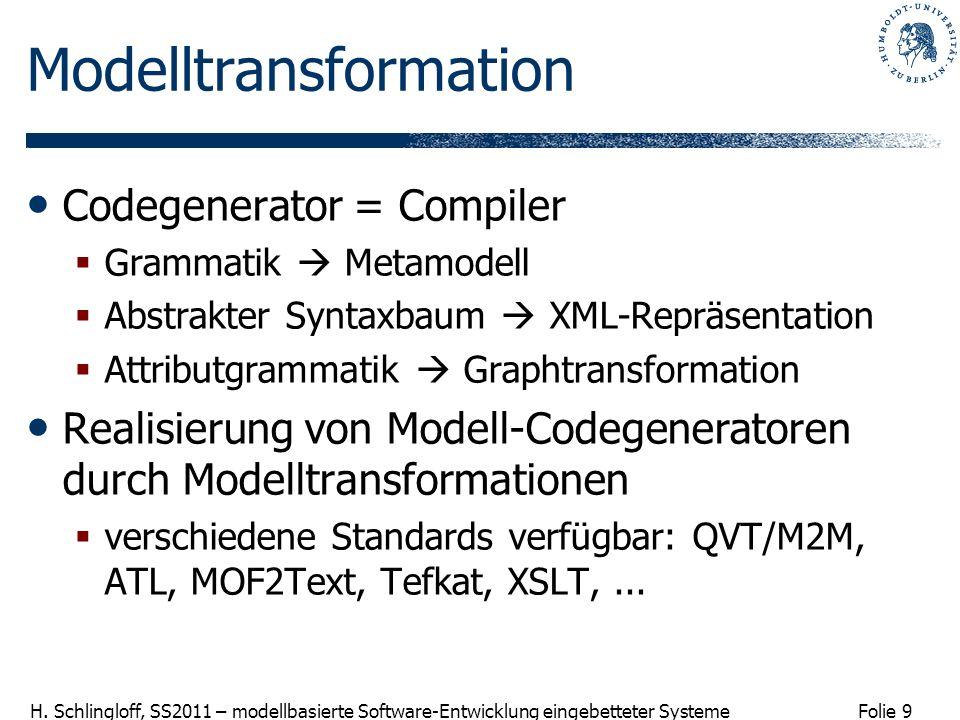Folie 9 H. Schlingloff, SS2011 – modellbasierte Software-Entwicklung eingebetteter Systeme Modelltransformation Codegenerator = Compiler Grammatik Met