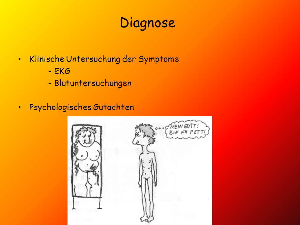 Diagnose Klinische Untersuchung der Symptome - EKG - Blutuntersuchungen Psychologisches Gutachten