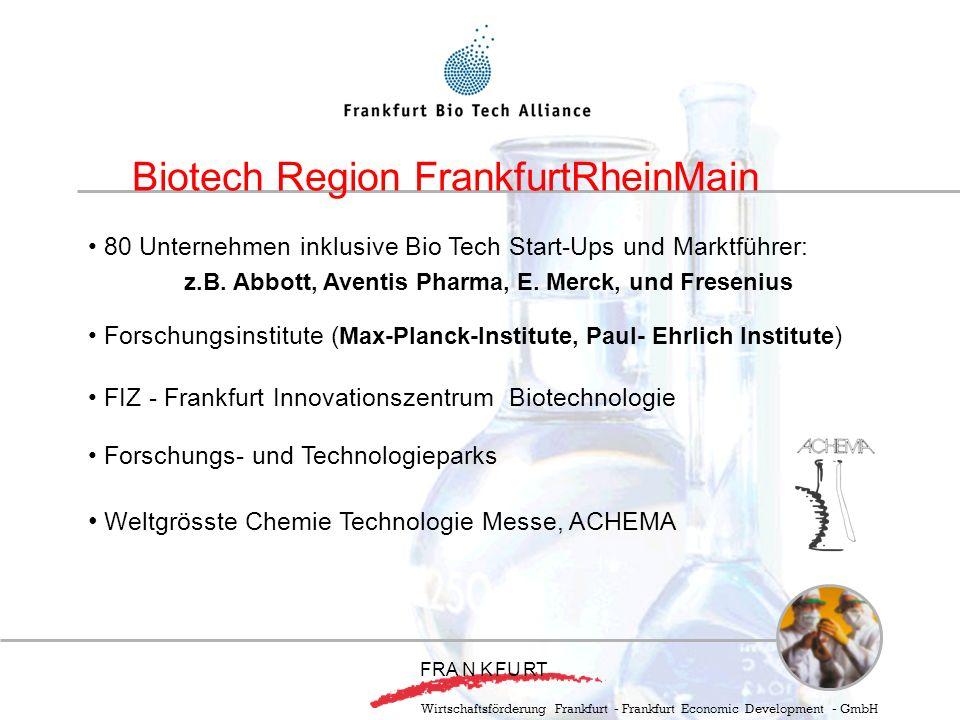 80 Unternehmen inklusive Bio Tech Start-Ups und Marktführer: z.B. Abbott, Aventis Pharma, E. Merck, und Fresenius Forschungsinstitute ( Max-Planck-Ins