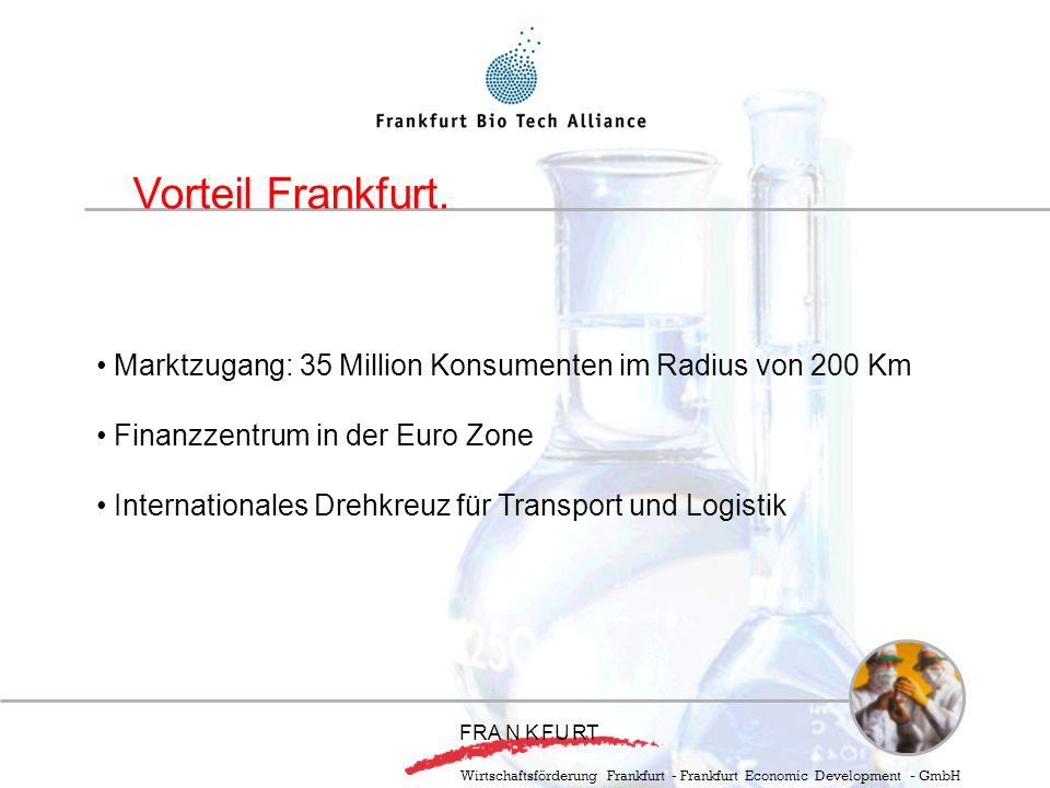 Marktzugang: 35 Million Konsumenten im Radius von 200 Km Finanzzentrum in der Euro Zone Internationales Drehkreuz für Transport und Logistik Vorteil Frankfurt.