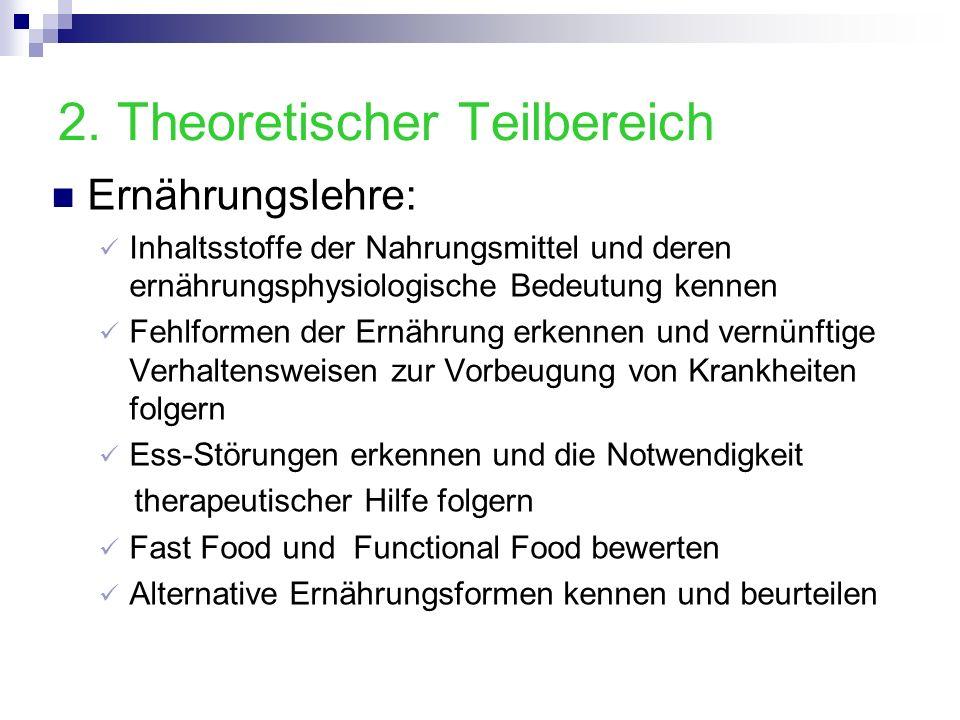 2. Theoretischer Teilbereich Ernährungslehre: Inhaltsstoffe der Nahrungsmittel und deren ernährungsphysiologische Bedeutung kennen Fehlformen der Ernä