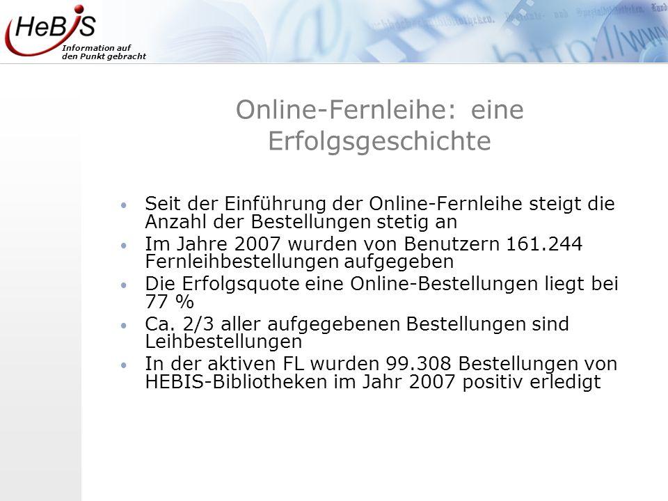 Information auf den Punkt gebracht Online-Fernleihe: eine Erfolgsgeschichte Seit der Einführung der Online-Fernleihe steigt die Anzahl der Bestellunge