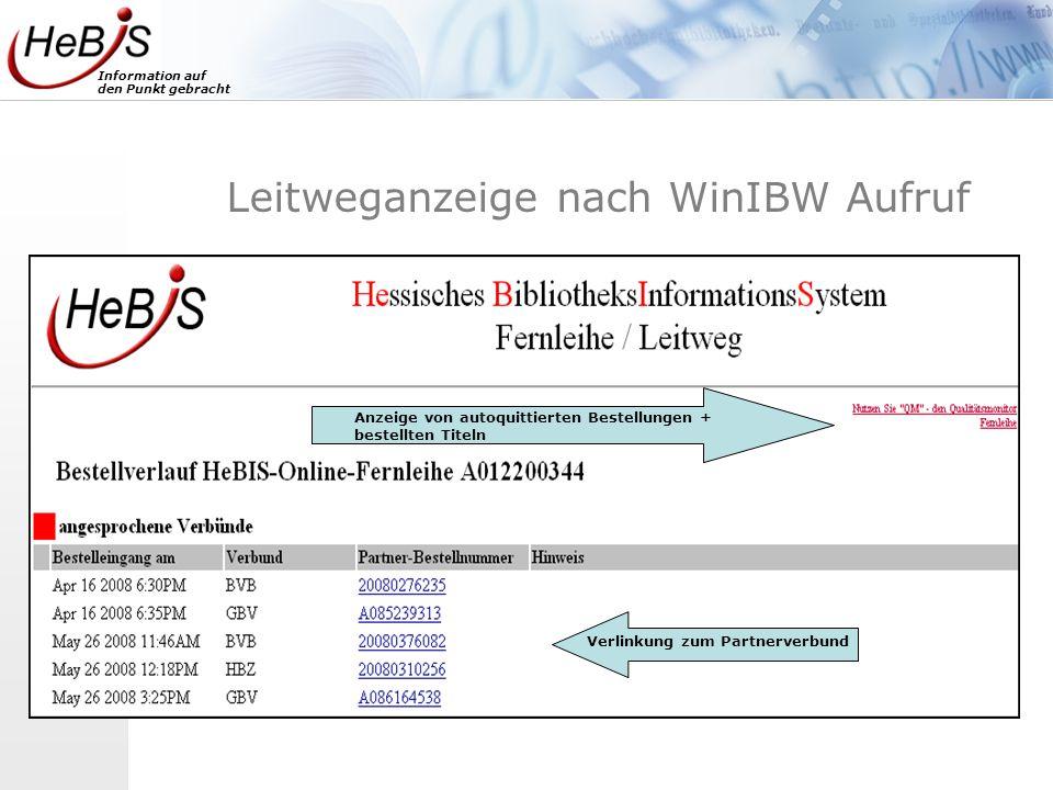 Information auf den Punkt gebracht Leitweganzeige nach WinIBW Aufruf Verlinkung zum Partnerverbund Anzeige von autoquittierten Bestellungen + bestellt
