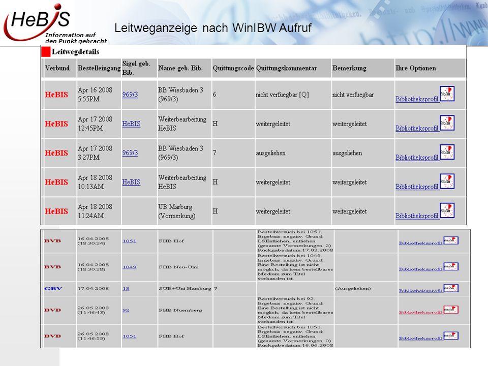 Information auf den Punkt gebracht Anzeige Bibliotheksprofil (BiBDIR) Neu