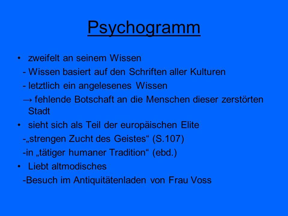 Psychogramm zweifelt an seinem Wissen - Wissen basiert auf den Schriften aller Kulturen - letztlich ein angelesenes Wissen fehlende Botschaft an die M