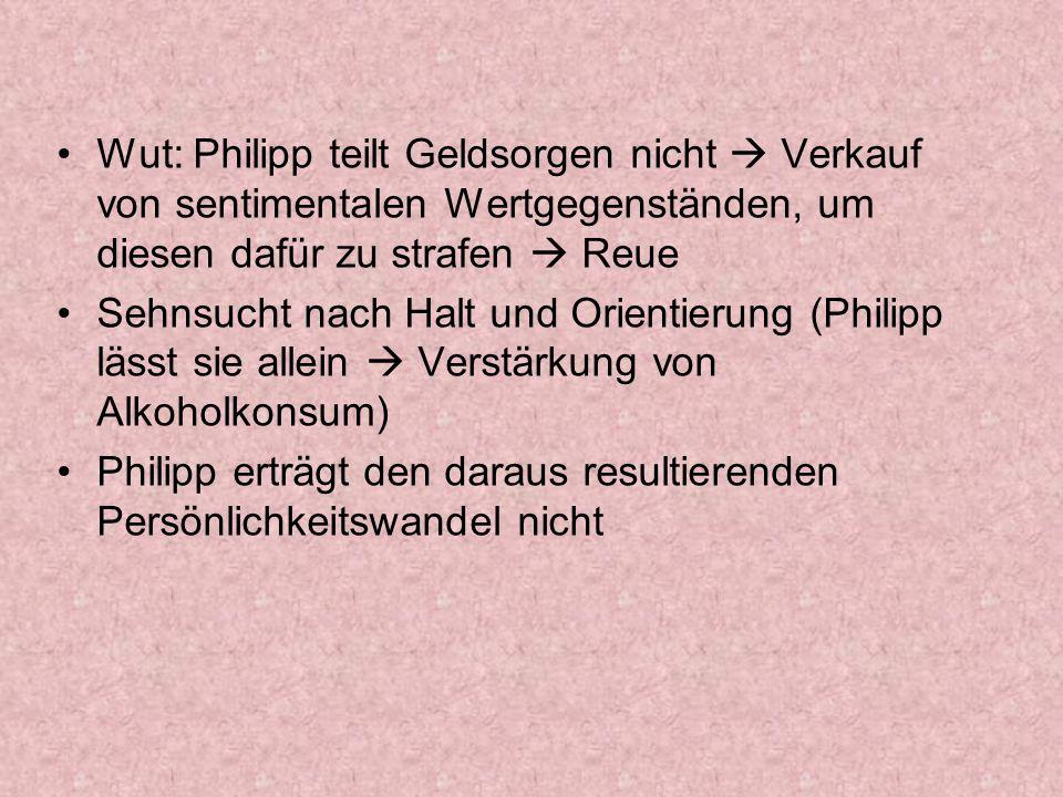 Wut: Philipp teilt Geldsorgen nicht Verkauf von sentimentalen Wertgegenständen, um diesen dafür zu strafen Reue Sehnsucht nach Halt und Orientierung (