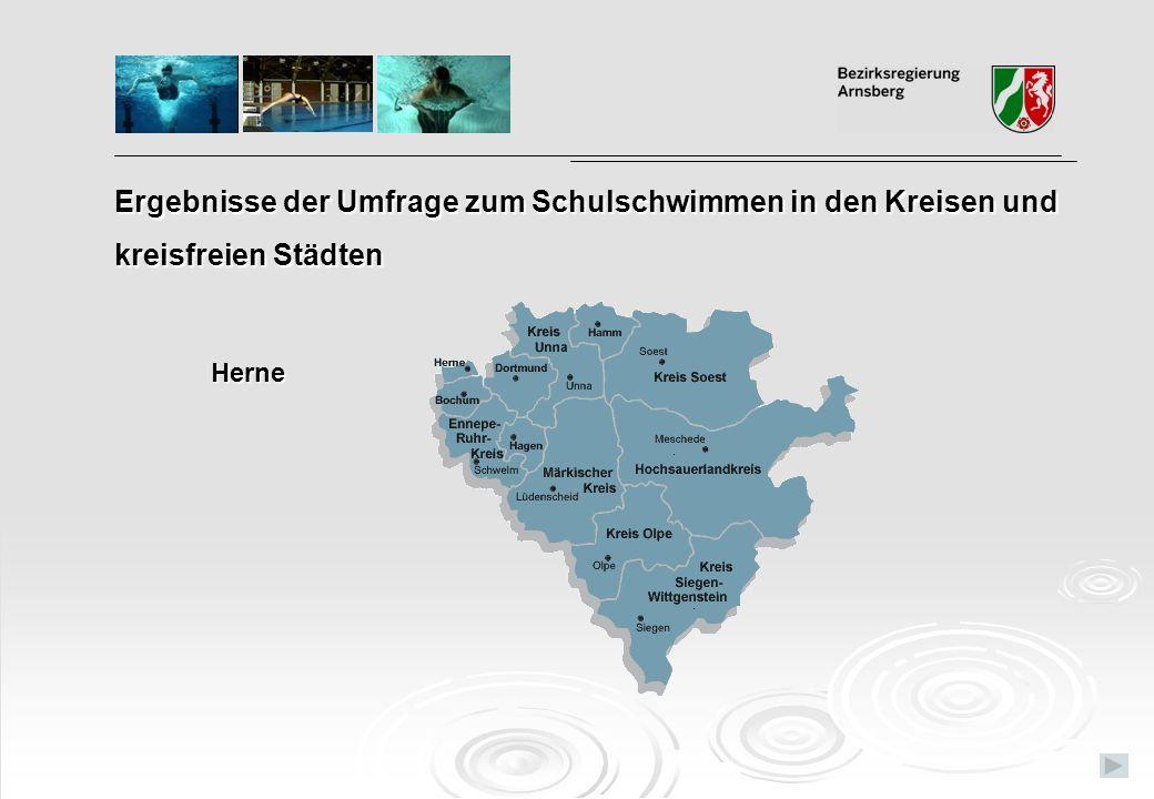 Ergebnisse der Umfrage zum Schulschwimmen in den Kreisen und kreisfreien Städten Herne