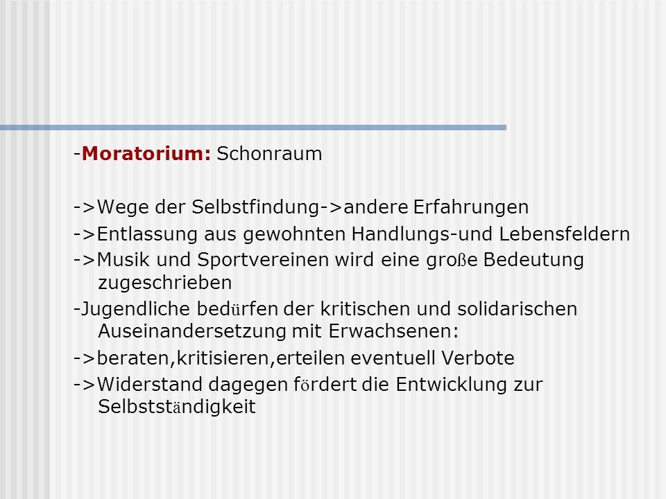 -Moratorium: Schonraum ->Wege der Selbstfindung->andere Erfahrungen ->Entlassung aus gewohnten Handlungs-und Lebensfeldern ->Musik und Sportvereinen w