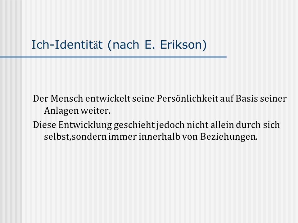 Ich-Identit ä t (nach E. Erikson) Der Mensch entwickelt seine Persönlichkeit auf Basis seiner Anlagen weiter. Diese Entwicklung geschieht jedoch nicht