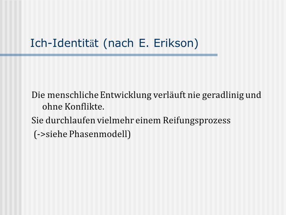 Ich-Identit ä t (nach E. Erikson) Die menschliche Entwicklung verläuft nie geradlinig und ohne Konflikte. Sie durchlaufen vielmehr einem Reifungsproze