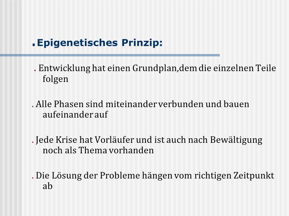 . Epigenetisches Prinzip:. Entwicklung hat einen Grundplan,dem die einzelnen Teile folgen. Alle Phasen sind miteinander verbunden und bauen aufeinande