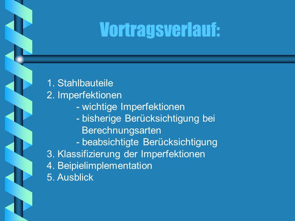 Vortragsverlauf: 1. Stahlbauteile 2. Imperfektionen - wichtige Imperfektionen - bisherige Berücksichtigung bei Berechnungsarten - beabsichtigte Berück