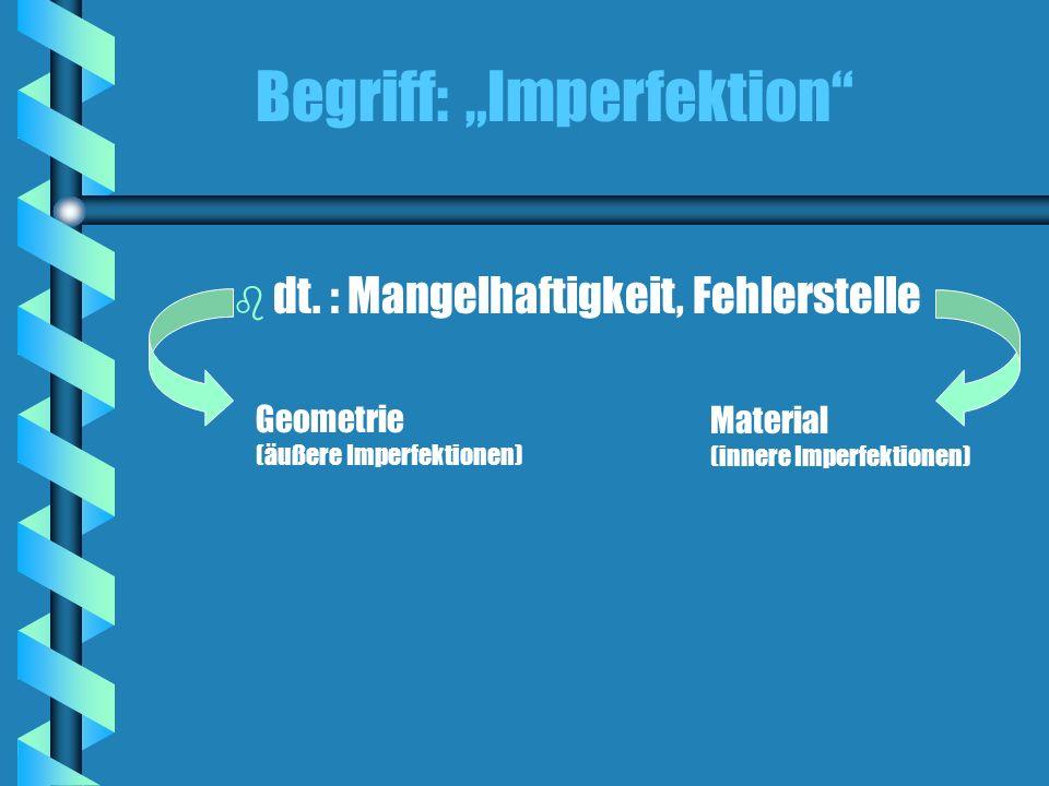 Begriff: Imperfektion Geometrie (äußere Imperfektionen) Material (innere Imperfektionen) b dt. : Mangelhaftigkeit, Fehlerstelle
