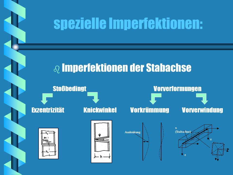 spezielle Imperfektionen: StoßbedingtVorverformungen ExzentrizitätKnickwinkelVorkrümmungVorverwindung b Imperfektionen der Stabachse Auslenkung z z x