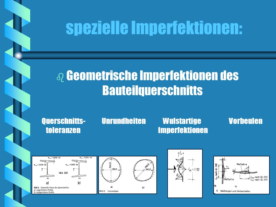 spezielle Imperfektionen: b b Strukturelle Imperfektionen Imperfekte Mechanische Eigenschaften Eigenspannungen Fließgrenzen- streuungen Veränderlicher E-Modul
