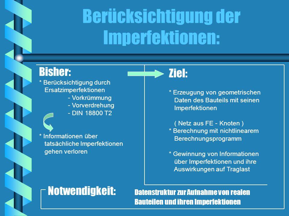 Berücksichtigung der Imperfektionen: Bisher: * Berücksichtigung durch Ersatzimperfektionen - Vorkrümmung - Vorverdrehung - DIN 18800 T2 * Informatione