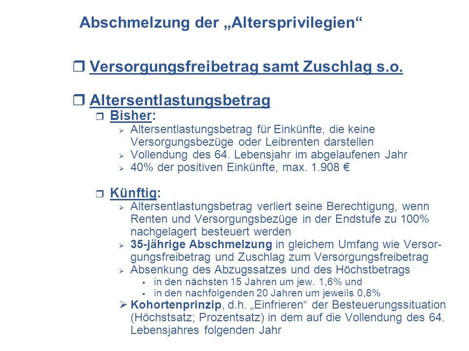 Versorgungsfreibetrag samt Zuschlag s.o. Altersentlastungsbetrag Bisher: Altersentlastungsbetrag für Einkünfte, die keine Versorgungsbezüge oder Leibr