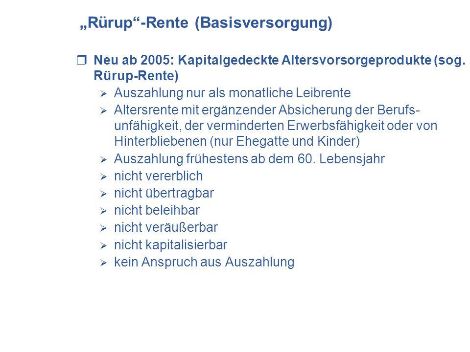 Rürup-Rente (Basisversorgung) Neu ab 2005: Kapitalgedeckte Altersvorsorgeprodukte (sog. Rürup-Rente) Auszahlung nur als monatliche Leibrente Altersren