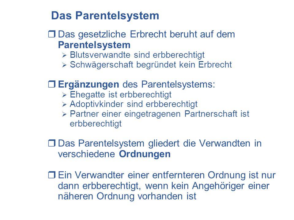 Das Parentelsystem Das gesetzliche Erbrecht beruht auf dem Parentelsystem Blutsverwandte sind erbberechtigt Schwägerschaft begründet kein Erbrecht Erg