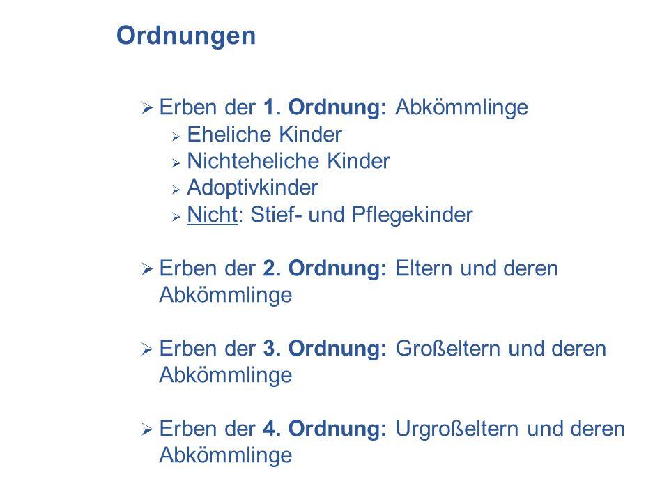 Ordnungen Erben der 1. Ordnung: Abkömmlinge Eheliche Kinder Nichteheliche Kinder Adoptivkinder Nicht: Stief- und Pflegekinder Erben der 2. Ordnung: El