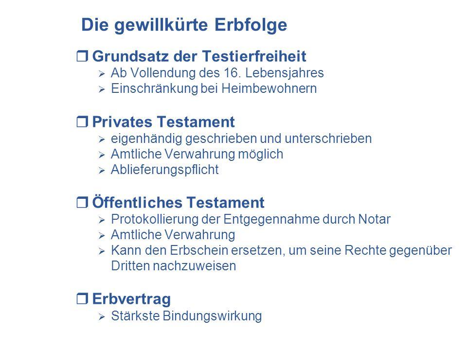 Die gewillkürte Erbfolge Grundsatz der Testierfreiheit Ab Vollendung des 16. Lebensjahres Einschränkung bei Heimbewohnern Privates Testament eigenhänd