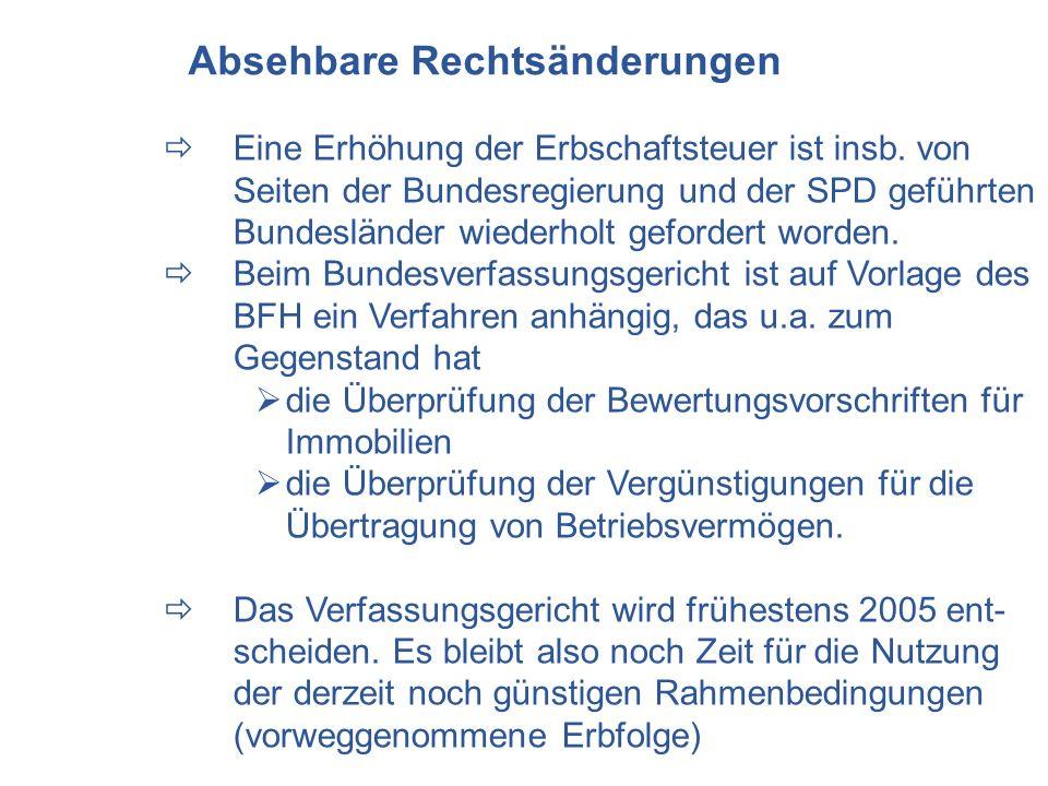 Eine Erhöhung der Erbschaftsteuer ist insb. von Seiten der Bundesregierung und der SPD geführten Bundesländer wiederholt gefordert worden. Beim Bundes
