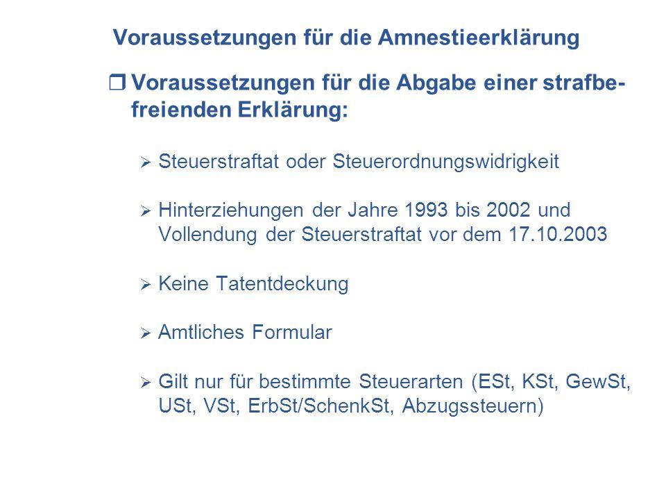 Voraussetzungen für die Amnestieerklärung Voraussetzungen für die Abgabe einer strafbe- freienden Erklärung: Steuerstraftat oder Steuerordnungswidrigk