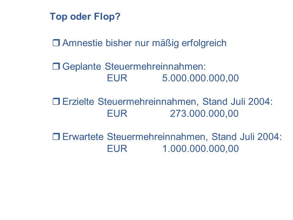 Top oder Flop? Amnestie bisher nur mäßig erfolgreich Geplante Steuermehreinnahmen: EUR 5.000.000.000,00 Erzielte Steuermehreinnahmen, Stand Juli 2004: