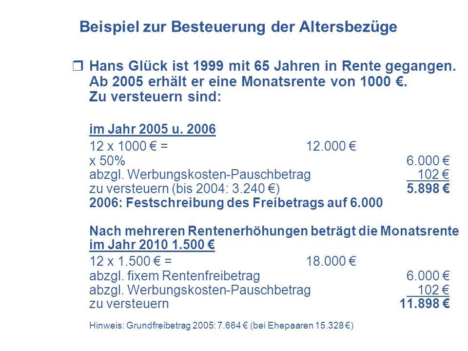 Hans Glück ist 1999 mit 65 Jahren in Rente gegangen. Ab 2005 erhält er eine Monatsrente von 1000. Zu versteuern sind: im Jahr 2005 u. 2006 12 x 1000 =